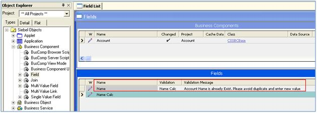 Add Calculated Field in Validation Property